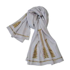 Sequin Embroidered Slim Neck Scarf: Holiday Collection : Light Gray