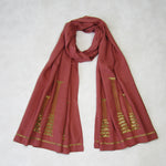 Sequin Embroidered Slim Neck Scarf: Holiday Collection : Old Rose
