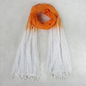 ORANGE: Tie-Dye Crinkled Scarf; Handmade