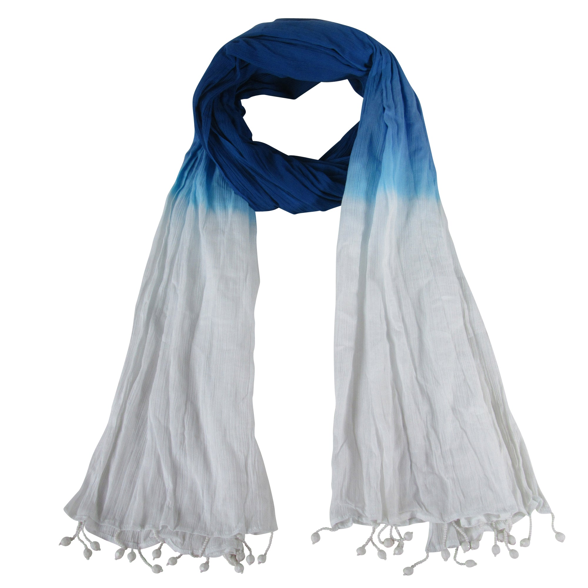 Handmade Wide Scarf Cotton Fabric Tie Dye Blue Navy Ombre