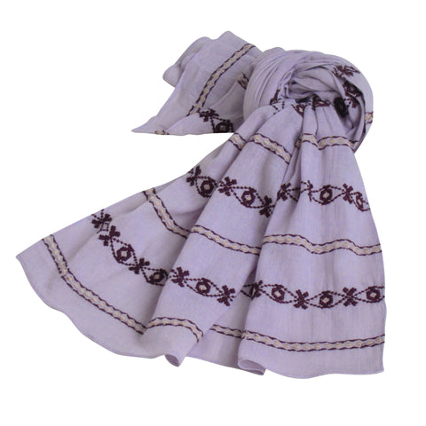 Hand Embroidered Cotton Long Scarves - Lavender