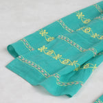 Hand Embroidered Cotton Long Scarves - Emerald