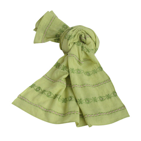Hand Embroidered Cotton Long Scarves - Lime