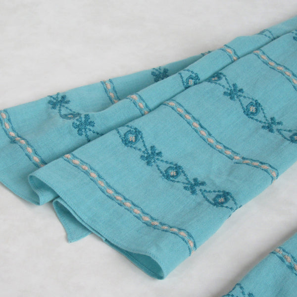 Hand Embroidered Cotton Long Scarves - Sky Blue