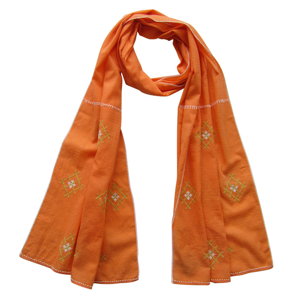 Embroidered Scarf : Sun-Set ORANGE