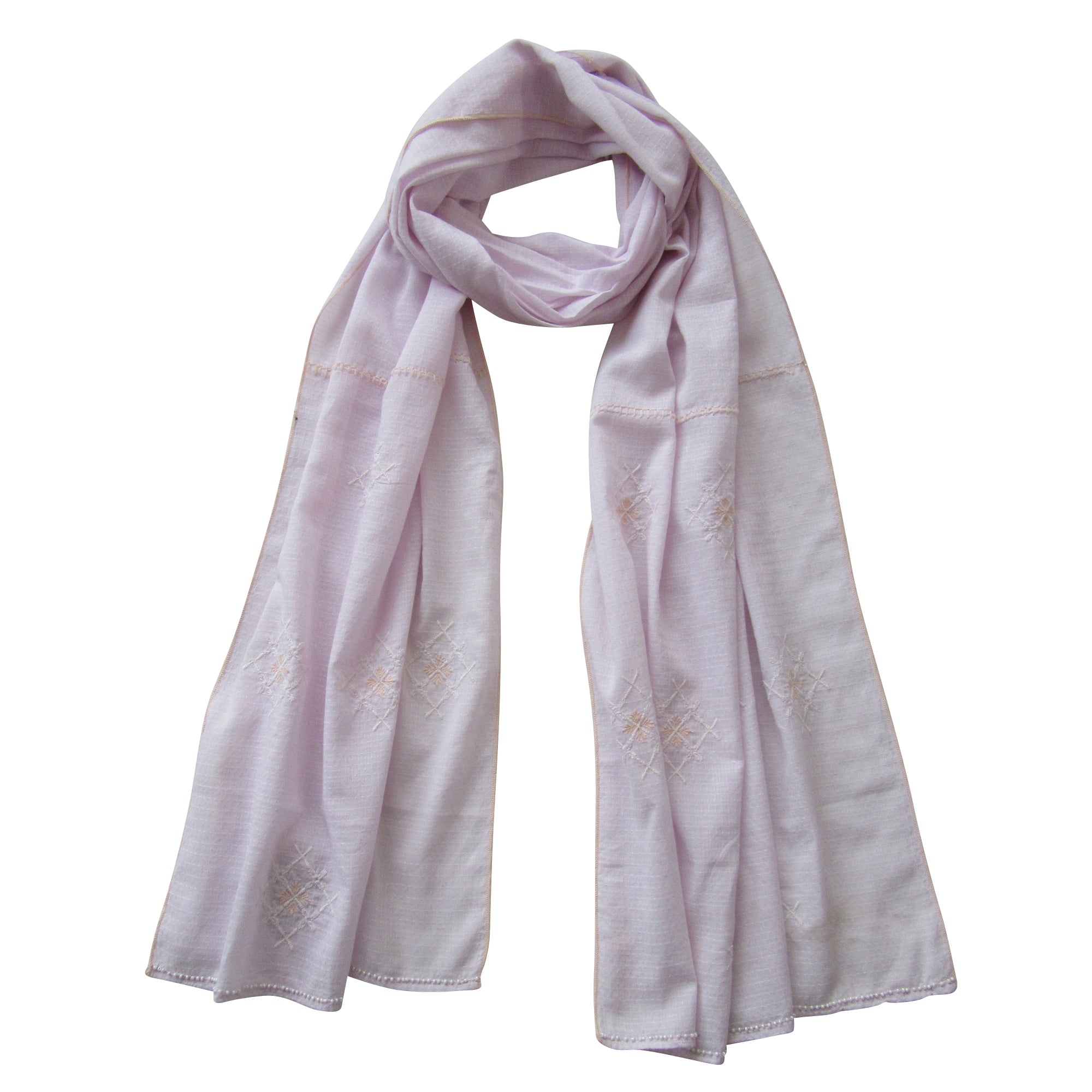 Embroidered Scarf : The soft MAUVE; LAVENDER
