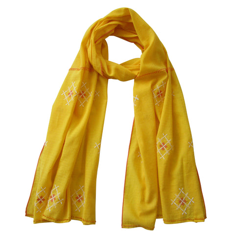Embroidered Scarf : Sun-Set YELLOW
