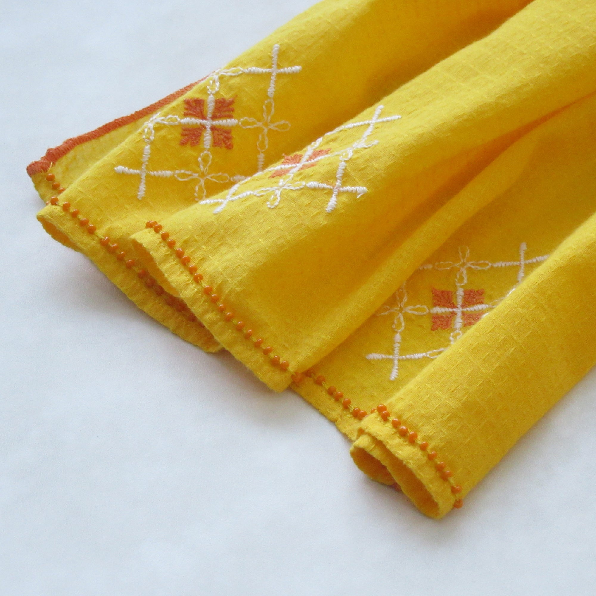 Embroidered Scarf : The Autumn TURMERIC YELLOW
