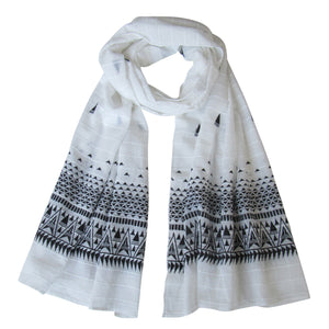 Embroidered Self Check Long Scarf: WHITE