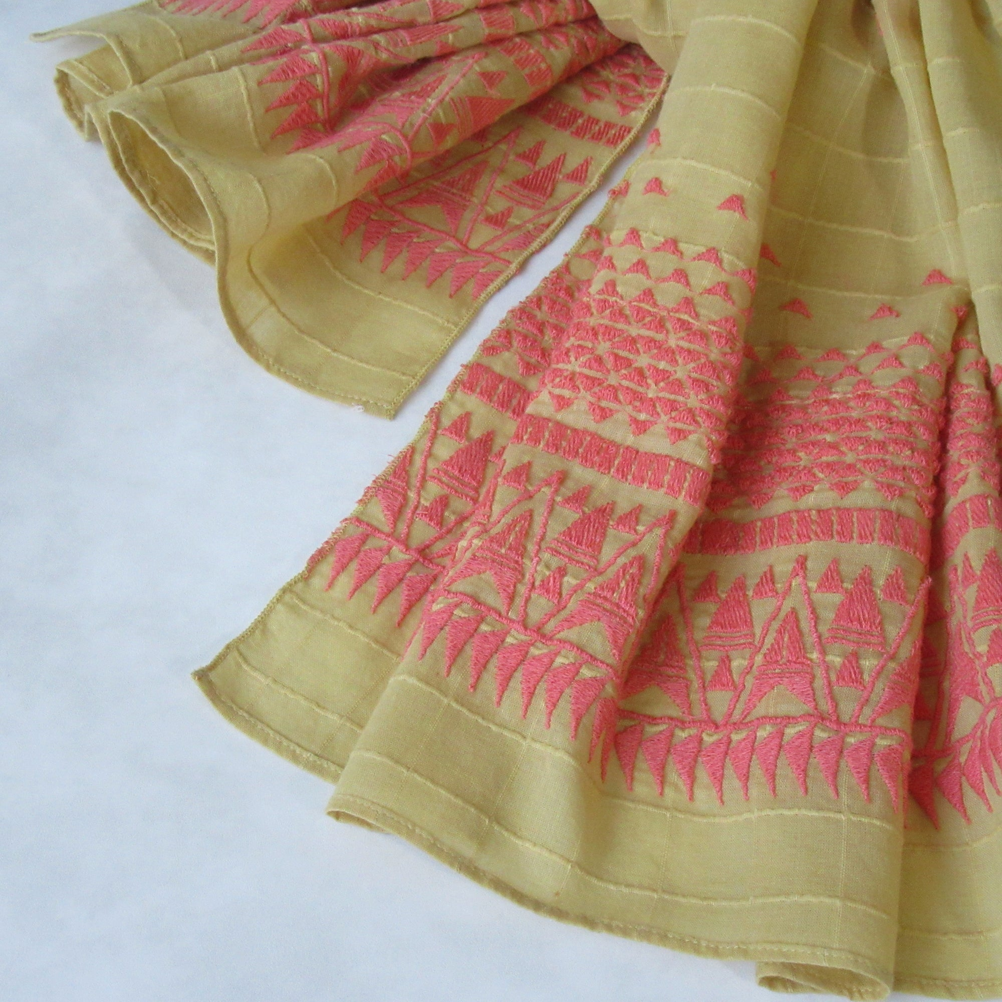 Embroidered Self Check Long Scarf: BUTTERSCOTCH