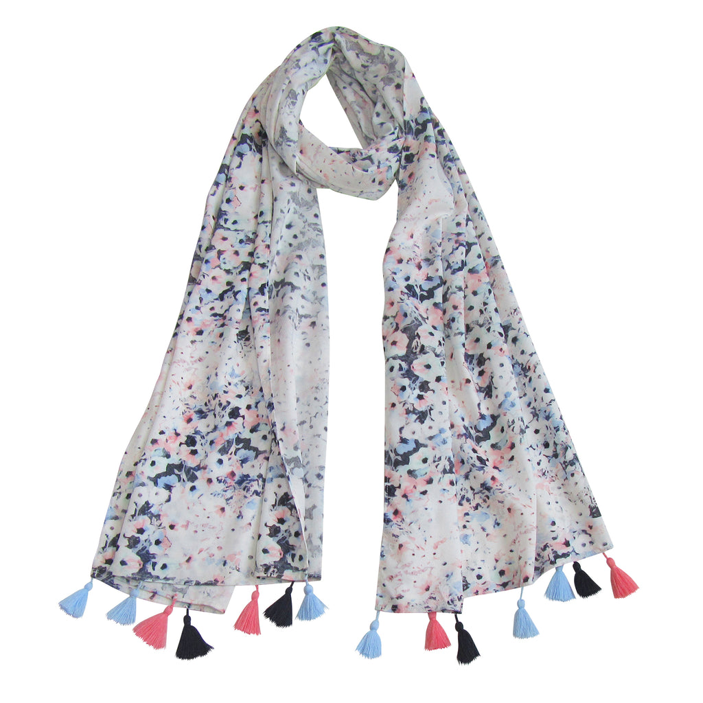 Color Splash; Floral scarf with Tassels Love