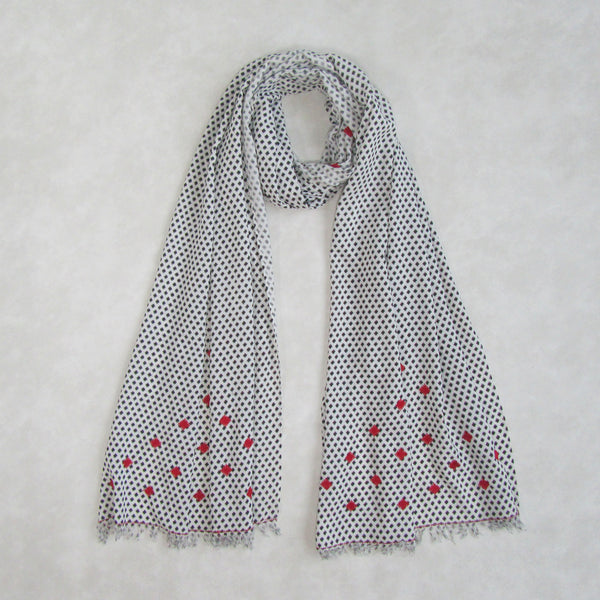 Touch of Red; Embroidered Scarf with Raw Edges; Limited Stock