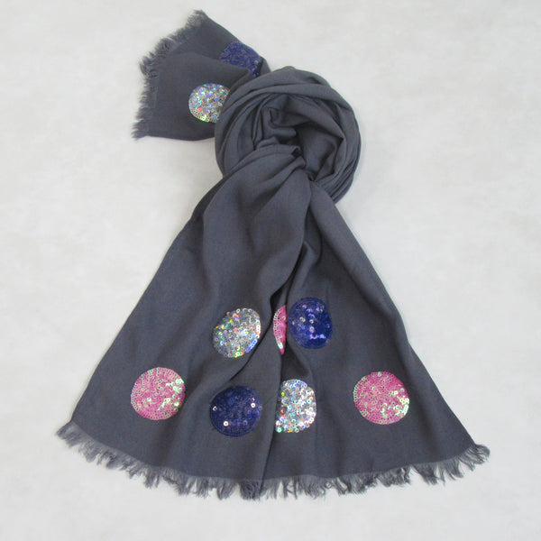 Holiday Sequin Scarf Collection : Steel Grey