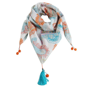 Printed and Embroidered Spring-Summer Triangle Scarf