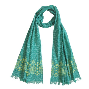 Embroidered Scarf; Green & Autumn Yellow