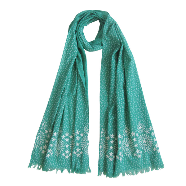 Embroidered Scarf; Green & Autumn White