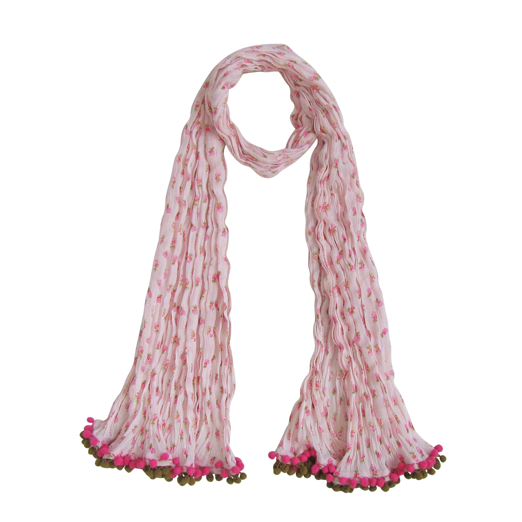 Crinkle Floral Scarf with Pom-Poms