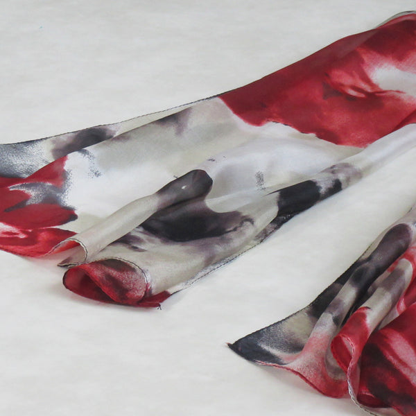 Silk Collection : Red Splash Long Scarf