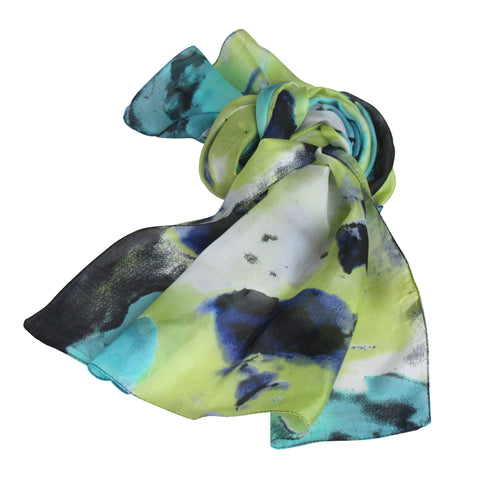 Silk Collection : Blue-Green Splash Long Scarf