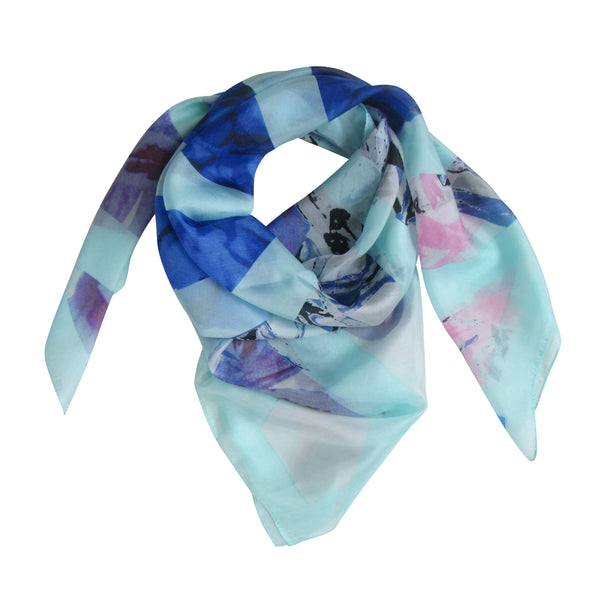 A Sea Floral Silk Scarf: Blue; Large Square