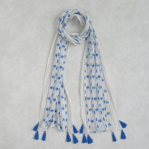 Voile Crinkle; Neon Blue & White Long Scarf