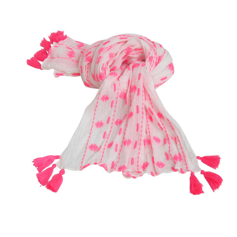 Summer Crinkle; Neon Pink & White Long Scarf