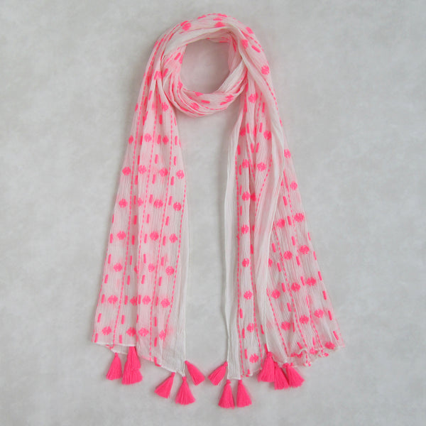 Voile Crinkle; Neon Pink & White Long Scarf