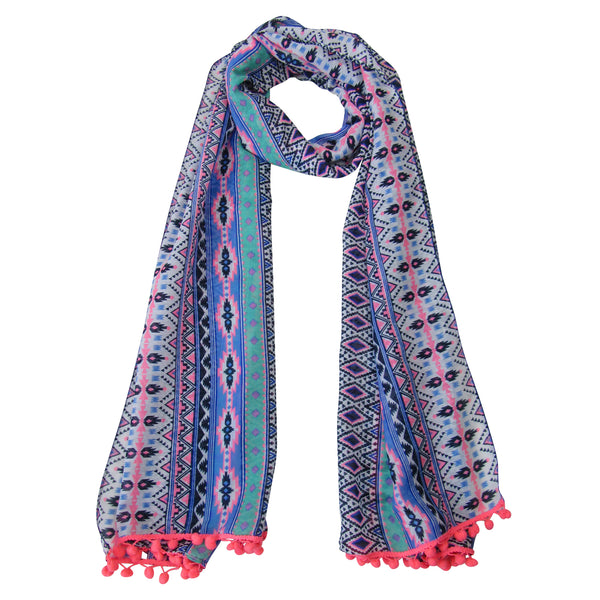 Neon Splash Multi Color Long Poly Scarf