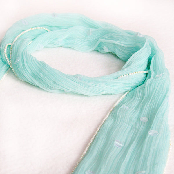 Beaded Skinny Chiffon Scarf; Handmade: Sea Green