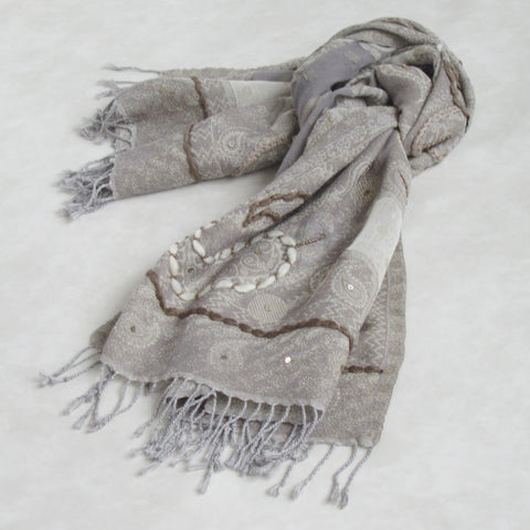 Handcrafted-Embroidered Winter Scarf: Beige