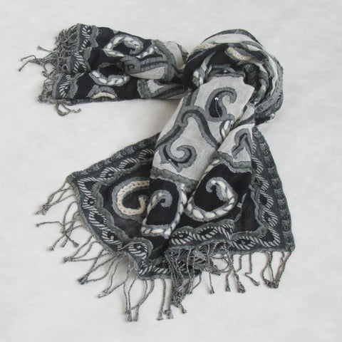 Handcrafted-Embroidered Winter Scarf: Black & White