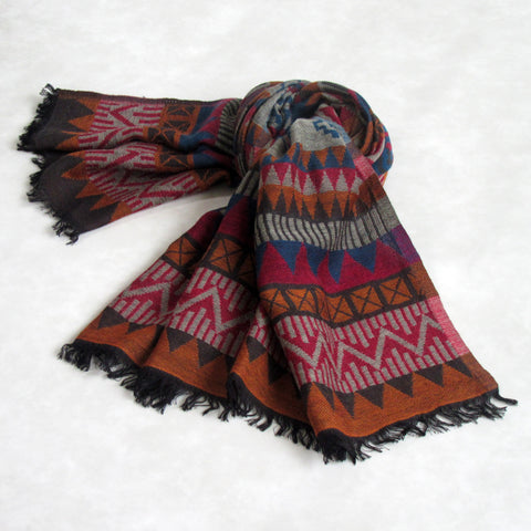 Winter Wool Collection; Aztec Design Scarf: Red
