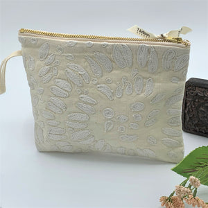 Multipurpose Zipper Cotton - Linen Pouch; Embroidered & Quilted