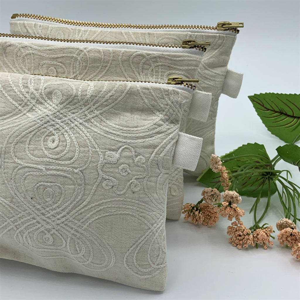 Multipurpose Zipper Cotton - Linen Pouches; Embroidered & Quilted