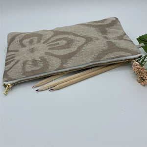 Multipurpose Long Zipper Pouch; Quilted : TAN