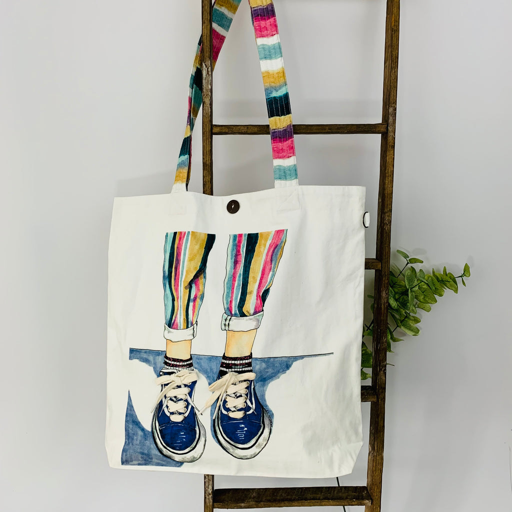 This Bag is meant for Walking; Embellished Unique Art Work; Canvas Tote Bag
