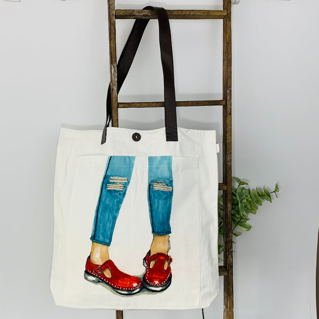 Put on your Red Boots; Embellished Unique Art Work; Canvas Tote Bag