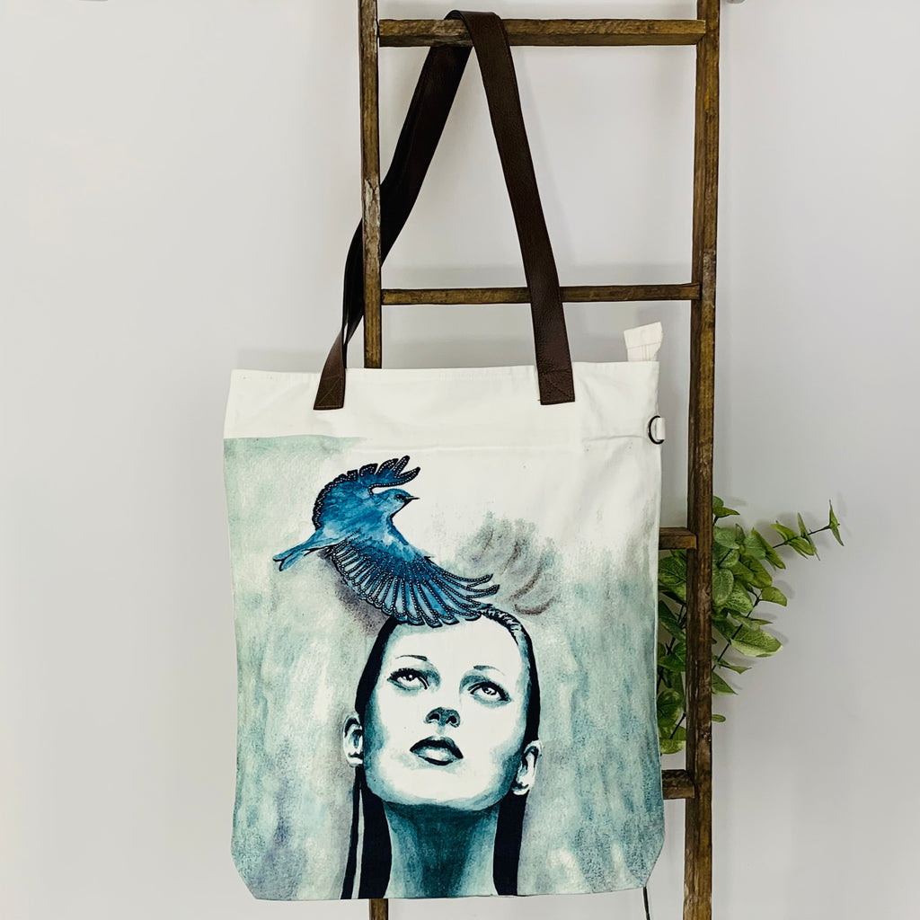 Bye Bye Bird; Embroidered Art Work; Canvas Shoulder Bag