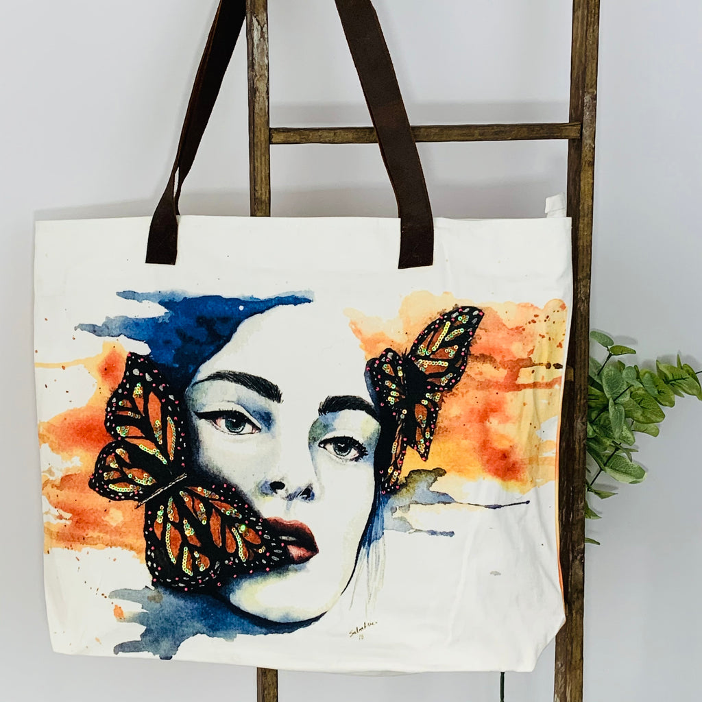 Monarch Butterfly; Embroidered Art Work; Canvas Shoulder Bag