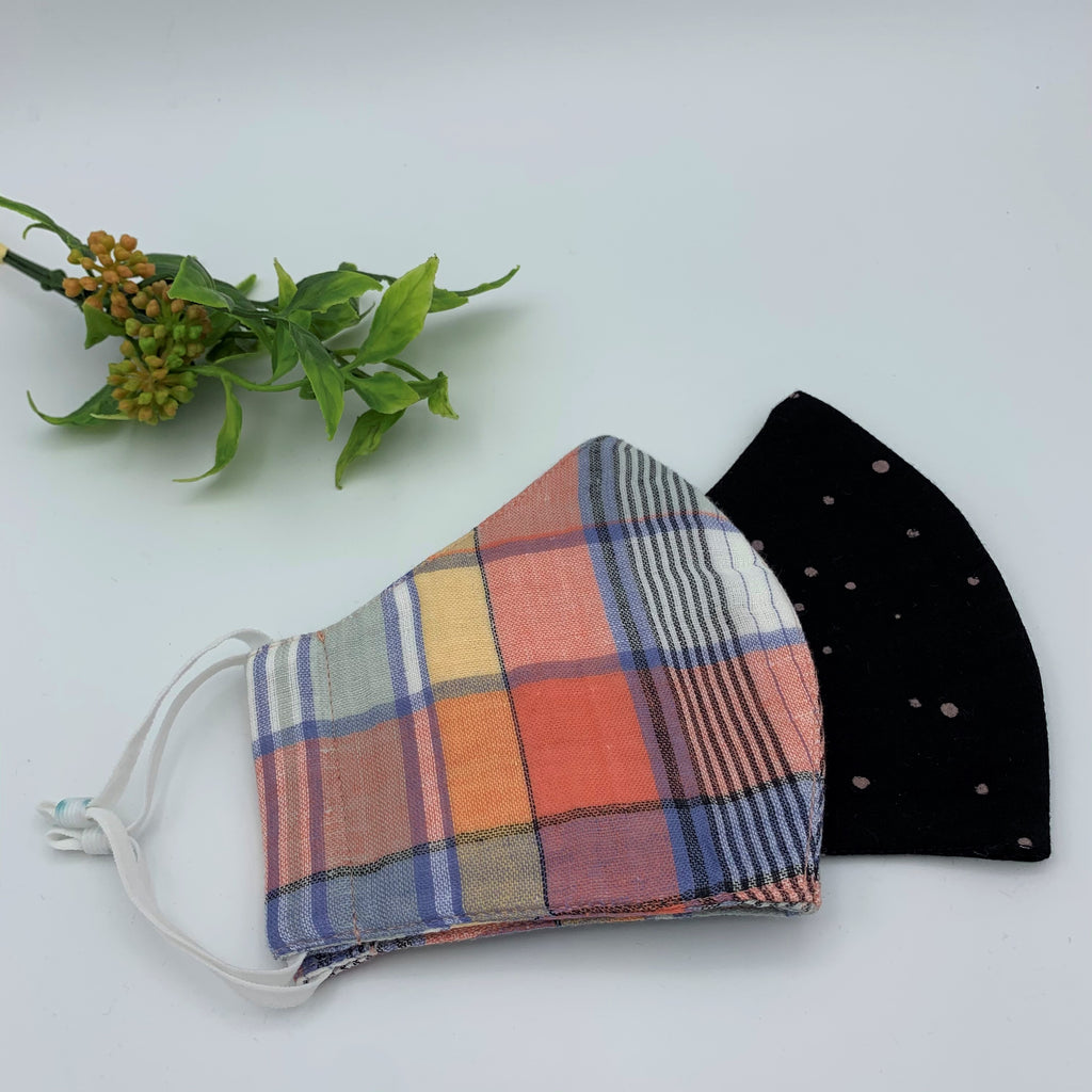 "Triple Layer Fabric Reusable Face Mask - Adult (OS); Unisex ""Plaid & Black"""
