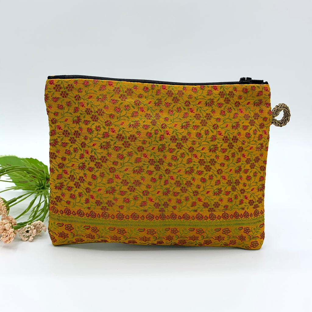 SILK Multipurpose Zipper Pouch; Quilted : MUSTARD