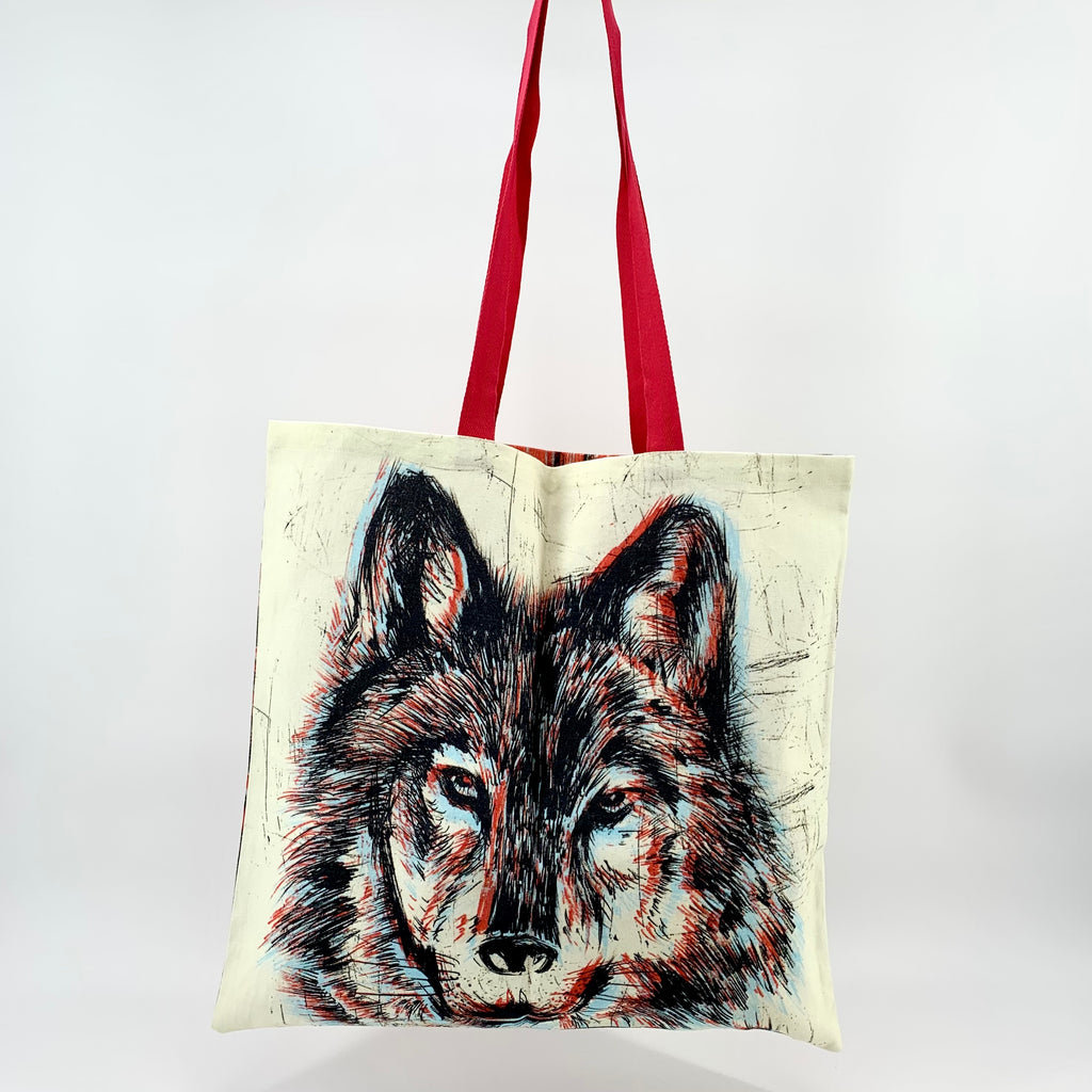 Market Bags; Upcycled Large Grocery Bags; Reusable - WOLF