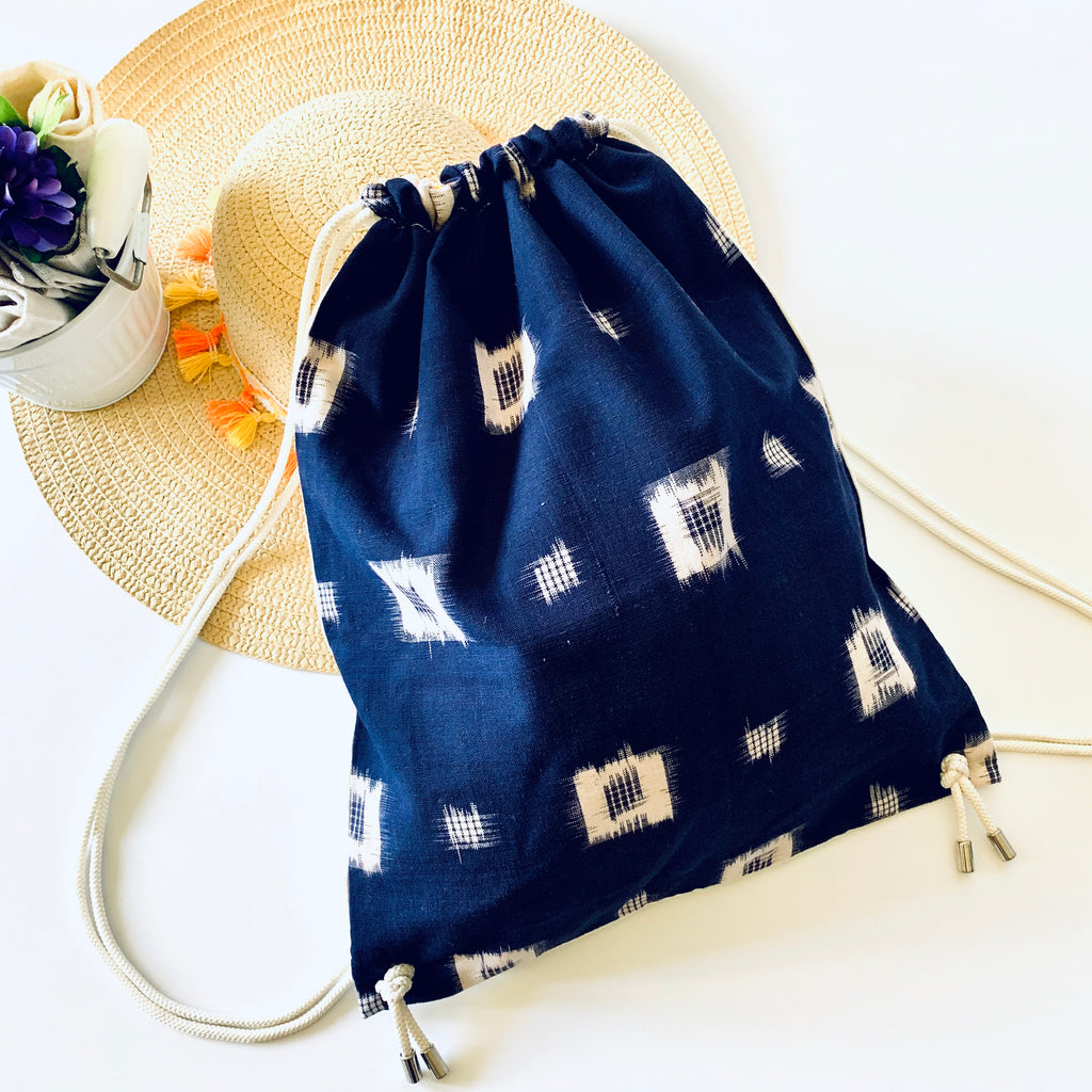 El & Mu; Drawstring Back Packs; Gym bag; Ikat Blue