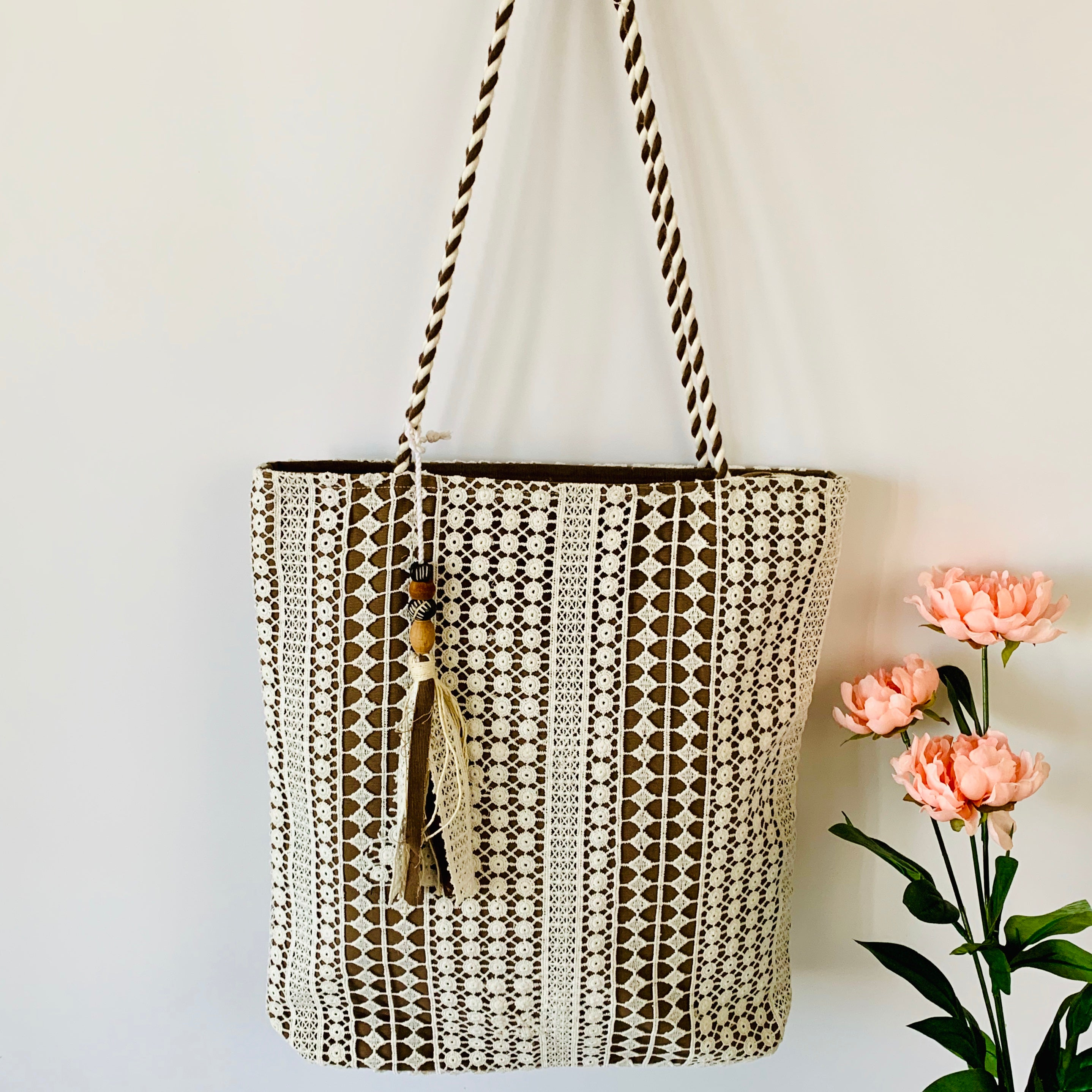 Lace over Canvas Timeless Tote - Tan (only 1 left)