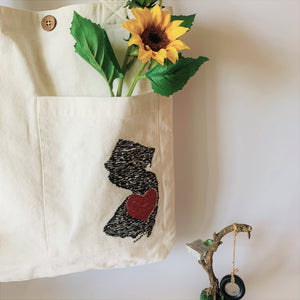 NJ Heart & White Denim Collection Tote Bags