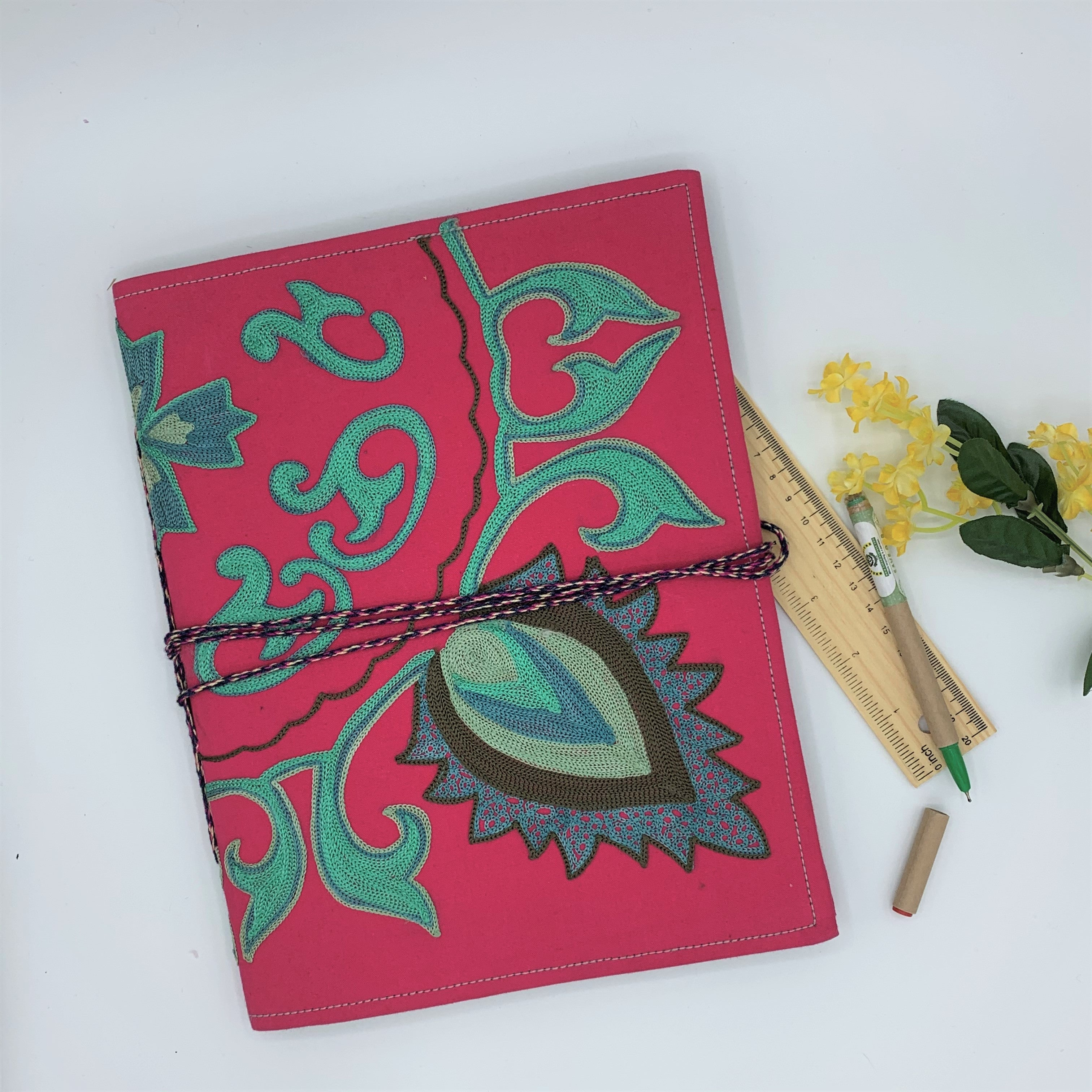 Embroidered Big Journal for Kids and Adults : Pink
