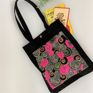 Sequin Embroidery Denim Collection Tote Bag : BLACK