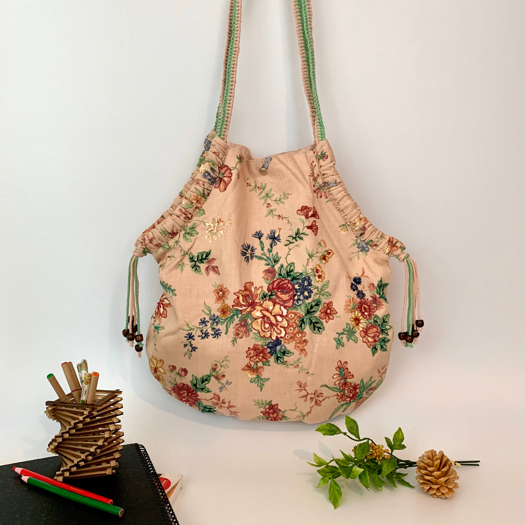 Handcrafted & Embroidered; Up-cycled U-Shaped Shoulder Bag