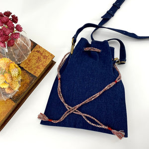 Embroidered Cross Body or a Fanny Bag; Blue Denim