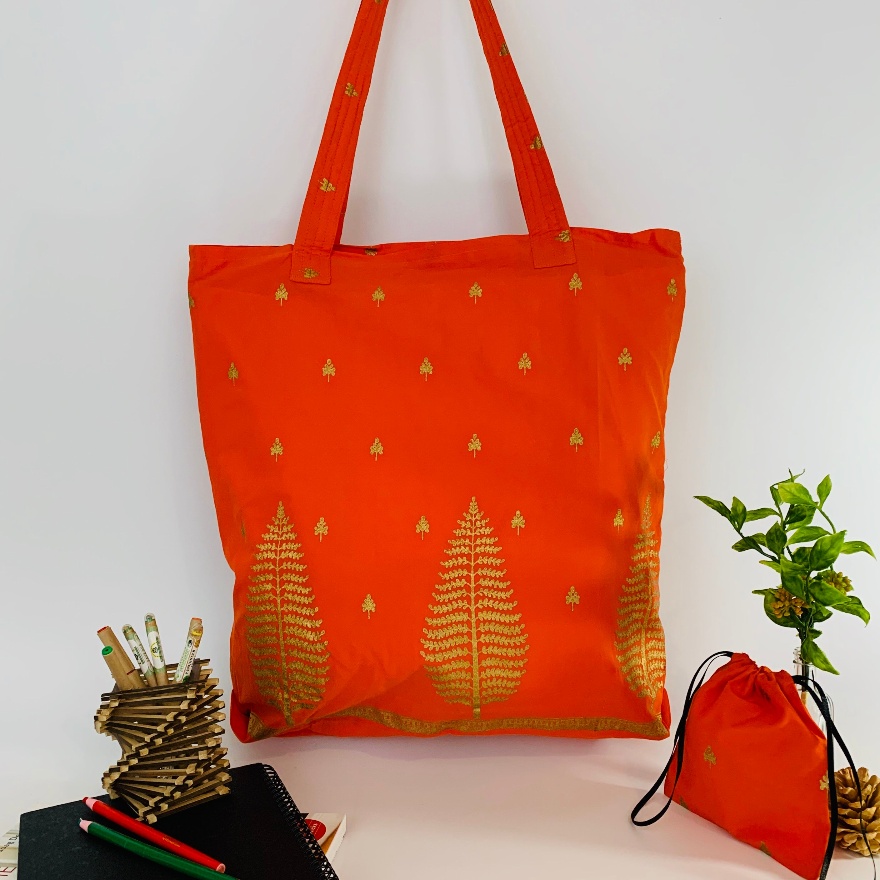 Large Tote Bag with Drawstring Multipurpose Pouch; Eco friendly